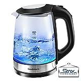 Wasserkocher Glas, Godmorn 2 Liter Glaswasserkocher mit Blaue LED-Beleuchtung, Automatische Teekessel, STRIX Temperatur Kontrolle, Trockenlaufschutz, Kabellos, Kalkfilter, 2200 Watt, BPA-Free