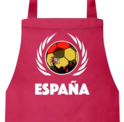 Espana Spain Soccer Fussball WM Grill Baumwoll Schürze Kochschürze Latzschürze Fußball Spanien, Größe: onesize,Pink (Spanien-schürze)