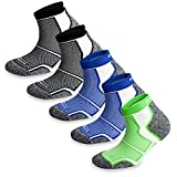 5 Pairs More Mile New York Cushioned Coolmax Sports Running Socks (8.5-10.5 UK / 42-45 EU, 2xBlack/2xBlue/1xGreen)