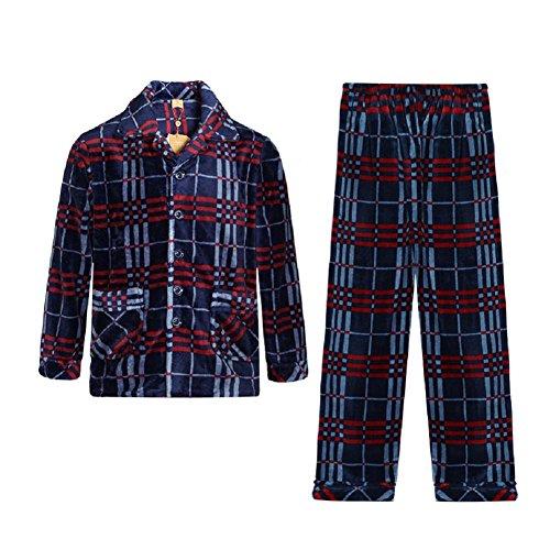 GJX Uomo autunno e inverno ispessimento caldo pigiama di flanella