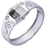 Women's Bracelet Bangle Wave Rhinestone Crystal Wrist Watch Silver