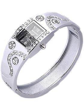 Armbanduhr Strass Kristall Uhr Quarzwerk Armband Armreif Silbrig