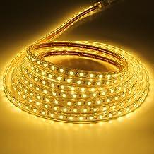 Liqoo 5M Tiras de Luz LED Strip Impermeable 40W 220V Blanco Cáldo 3000K Longitud DIY 300leds No necesita Transformador Resistente al Agua Interior y Exterior
