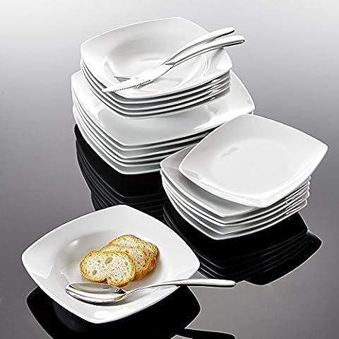 """Malacasa Série Julia 36pcs Assiettes Porcelaine Service de Table 12pcs 8"""" Assiette Creuse Soupe + 12pcs 6,5"""" Assiette à Dessert + 12pcs 9,5"""" Assiette Plate Vaisselles Plat Céramique Design Moderne Blanc"""