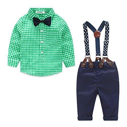 Kinder Baby Kleinkind Jungen Kleider Coat Kleidung Gentleman Baumwolle mit Ärmeln Herbst Kleidung des Babys Taufe Hochzeit Weihnachten Sakkos Anzüge kariertes Hemd spielanzug(0-24M)