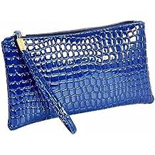 Sannysis Mujeres de piel de cocodrilo bolso Monedero (Azul)