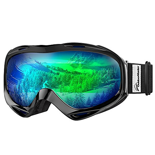 Premium Skibrille, Outdoormaster Snowboardbrille Schneebrille OTG 100% UV-Schutz, Helmkompatible Ski Goggles für Damen&Herren/Jungen&Mädchen(Schwarzer Rahmen+ VLT 17% Graue Linse mit vollem REVO Grün)