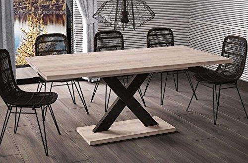 Esstisch Mila ausziehbar 130cm - 180cm Wildeiche Küchentisch Design bi colour Säulentisch