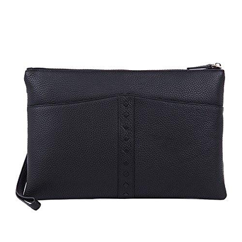 Yy.f Explosion Modelle Herren-Handtaschen Lederne Mappe Erste Schicht Aus Leder High-End-Business-Ledergeldbeutel Männlicher Handtasche Solides Paket Farbe B