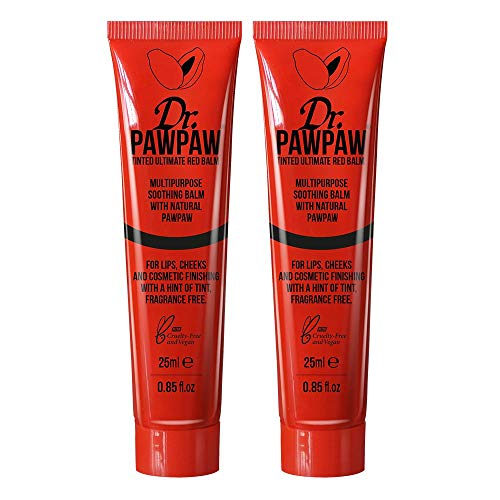 Lippenbalsam-duo-pack (Dr. PAWPAW Tinted Ultimate Red Balm, Multi-Purpose Balm, For Lips, Cheeks & Other Cosmetic Finishing, 2 x 25ml Duo Pack)