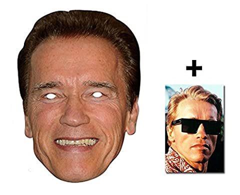 Mask Pack - Arnold Schwarznegger Celebrity Card Party Face Mask includes 6x4 inch (15cm x 10cm) Star Photo