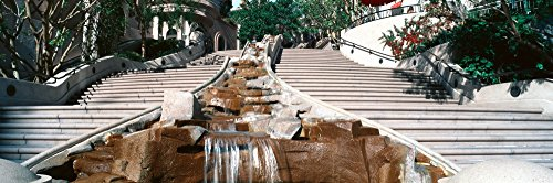 The Poster Corp Panoramic Images - Panoramic View of Stairs and Waterfall in Downtown Los Angeles California Lead into a Shopping Area Photo Print (91,44 x 30,48 cm)