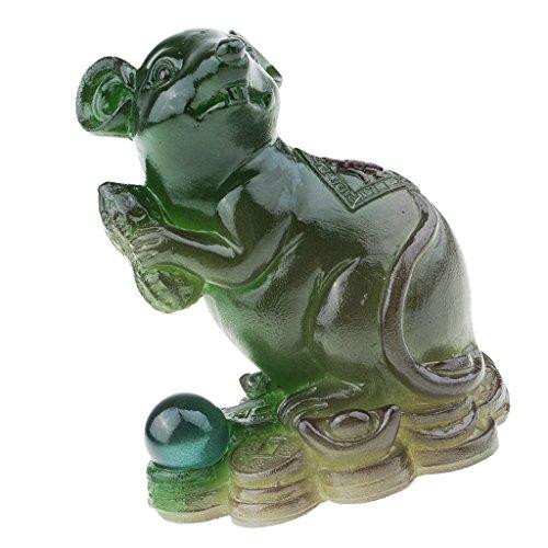 Baoblaze 1 Stück Tee Haustier Dekoration Garten-Figur Tischdekoration Ornament Zubehör - Grün Ratte