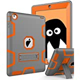 TOPSKY iPad 2 Case,iPad 3 Case,iPad 4 Case,[Kickstand Feature],Shock-Absorption / High Impact Resistant Hybrid Three Layer Armor Defender Case For iPad 2/3/4 (Only For 9.7 inch iPad),Grey-Orange