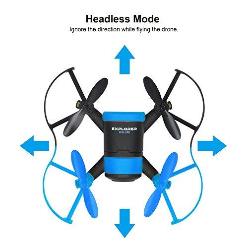 Hasakee Mini RC Drone quadrirotore con telecamera,a modalità senza testa,rotazione 3D da 2.4Ghz, Sensore giroscopico a 6 assi, Ideale per principianti bambini,Ape Blu