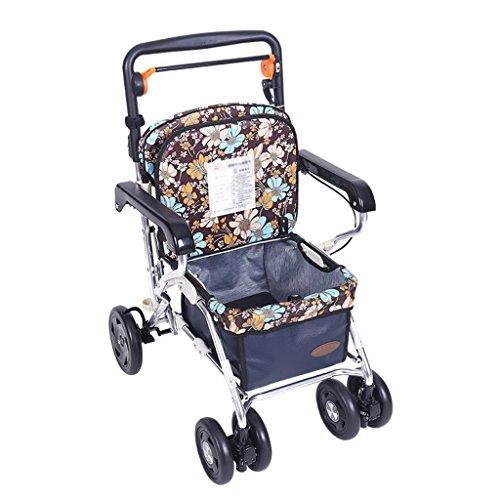 Gtt Einkaufswagen Push-Pull-Wagen Einkaufswagen Lebensmittelgeschäft Einkaufshilfe Reise-Vierradfahrer Kann sitzen und Falten (Color : Blue, Size : 44 * 60 * 85cm)