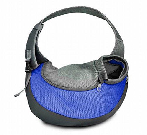 Tuopuda, Bolsa bandolera de transporte para mascotas, Portador plegable para perro, gris/azul, M (etiqueta del fabricante, L)