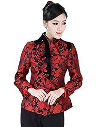JTC Women Floral Brocade Long Sleeves Cheongsam Tops Autumn Slim Wind Coat Wedding Tang Suit
