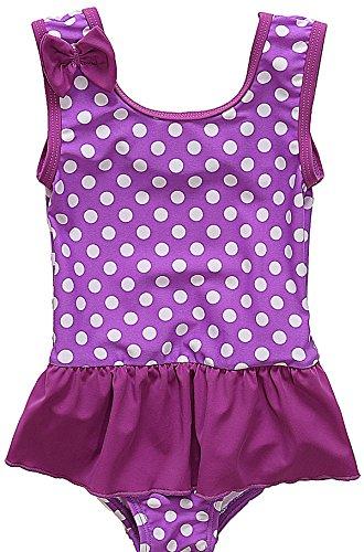 Sociala Baby Mädchen Einteiler Badeanzug mit Rock Punkte Print Breite Träger Schwimmanzug Violett 0-6 Monate