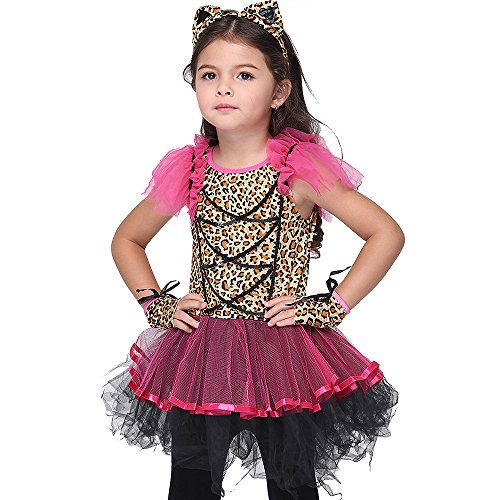 VENI MASEE Mädchen Leopard Dschungel Cheetah Tier Cosplay Kostüm Halloween Kostüm Set S-XL (Cheetah Kostüm Kinder)