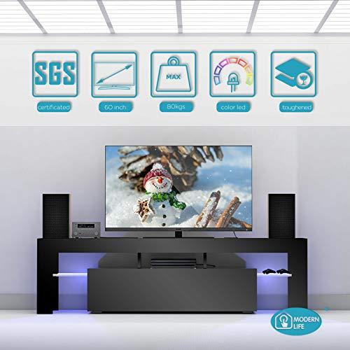 Modernes TV-Möbel TV-Schrank Schrank Sideboard, 160cm Schrank Schwarz Matt und Hochglanz Stand LED-Licht für Lounge, Wohnzimmer, Schlafzimmer - Schlafzimmer Media Storage