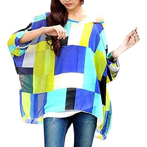 Blusa de talle ancho hecho de gasa y con estampado de geométrico azul 004 – Moda femenina para la mujer mws1824