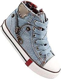 hibote Deporte Niños Zapatos Lona Respirables Las Zapatillas Deporte Jeans Denim Niño Botas Planas