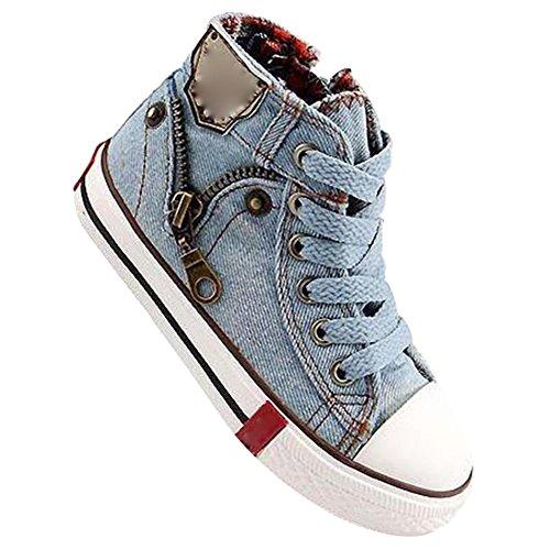 Highdas Leinwand Kinderschuhe Sport Breathable Jungen Sneakers Kind Jeans Denim Kind Flache Stiefel, Hellblau 31 (Jungen Jeans Größe 7 Langen)