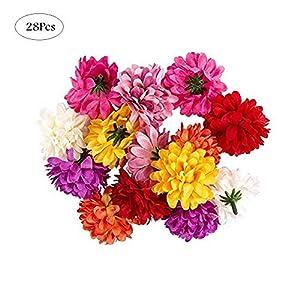 Cratone 28 Piezas Flores Artificiales de Clavel Cabezas de Flor Accesorios para Albumes de Recortes Corona Regalo…