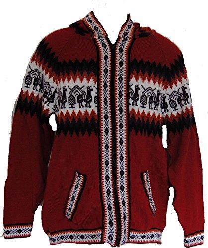 Fair Trade Herren Alpaca Wolle Zip Pullover / Kapuzenober / Cardigan (rot) (Zip Wolle Pullover)