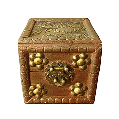 Sunshine 8*8*8cm Antique Chinese old time small wood jewellery box