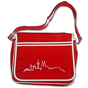 Freizeittasche Köln Skyline Silhouette Bag Base® BagBase Retro Messenger 40x30x10cm rot/weiß