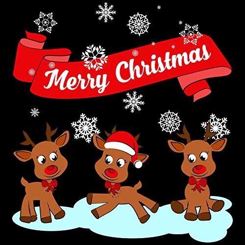 Fashionalarm Herren T-Shirt - Merry Christmas Rentiere | Fun Shirt als Geschenk Idee Weihnachten Heiligabend Nikolaus Schwarz