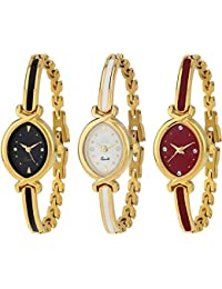 Swadesi Stuff Analogue Multi-Colour Dial Luxury Bangle Watch for Women Combo of 3 (patti 3 watch)