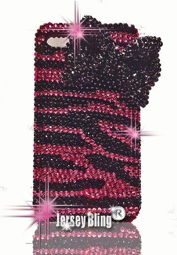 Jersey Bling Schutzhülle für iPhone 5 (handgefertigt, mit 3D-Schleife, Zebra-Motiv, mit Swarovski-Kristallen und Strasssteinen) Dunkelrosa -