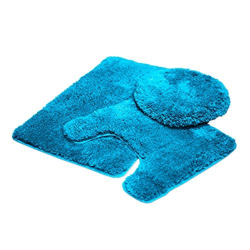 Mary 3Stück Badezimmer Teppich Set, Luxus Plüsch Shaggy flauschig dicke Mikrofaser Badteppich, Countour Teppich, WC-Sitz Deckel, rutschfeste Gummi Rückseite, Bodenmatten Wasser saugfähig türkis (3 Stück Teppich Set Türkis)