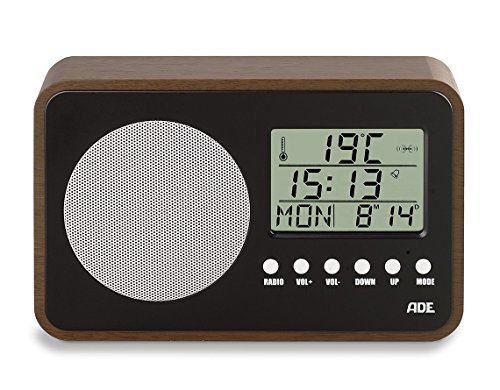 Ade br1704Radio (compacta y Pilas de Estilo Retro con Reloj, Pantalla LCD, Despertador, Termómetro y Calendario) Negro–Nogal