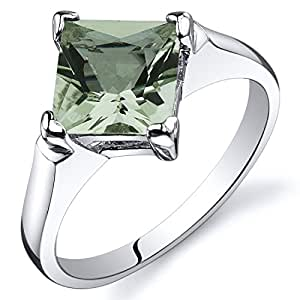 Revoni Striking 1.50 carats Green Amethyst Engagement Ring in Sterling Silver Size J,