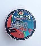 WFT TF8 Barsch red 150m - Barschschnur zum Spinnfischen, geflochtene Angelschnur zum Barschangeln,...