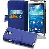 Cadorabo - Book Style Hülle für Samsung Galaxy NOTE 3(N9005) - Case Cover Schutzhülle Etui Tasche mit Kartenfach in KÖNIGS-BLAU