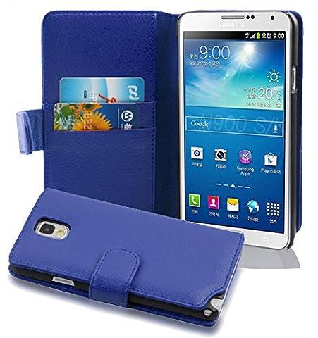 Cadorabo - Etui Housse pour Samsung Galaxy NOTE 3(N9005) - Coque Case Cover Bumper Portefeuille (avec fentes pour cartes) en BLEU