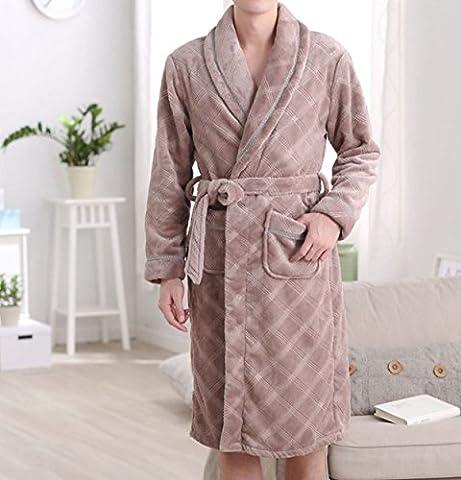 POKWAI Peignoir Biologique Unisexe. Terry Doux 100% Coton. Pyjama Peinturé En Pyjama Pour Hommes Pur Et élégant,Brown-XL
