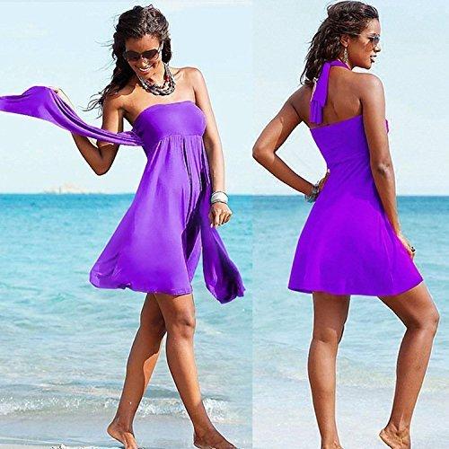 Minetom Donne Estate Costumi Da Bagno Sexy Spiaggia Vestito Avvolto Petto Gonna Con Nastrino Viola