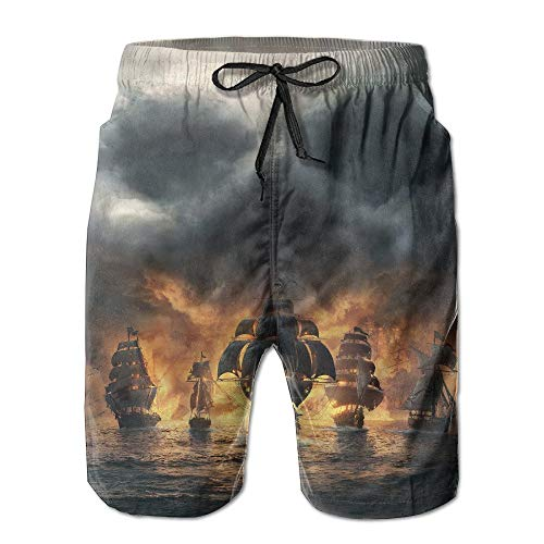 khgkhgfkgfk Skull Clouds Ship Lightweight Water Beach Board Shorts Surfing Trunks with Poket for Men Large