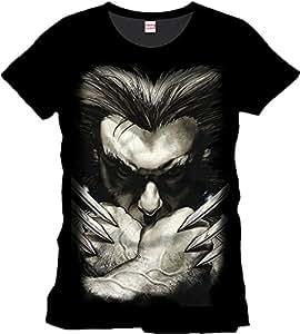 Wolverine - T-shirt Marvel del super eroe Wolverine con gli artigli - T-shirt Logan - Stampa frontale - Nero - XL