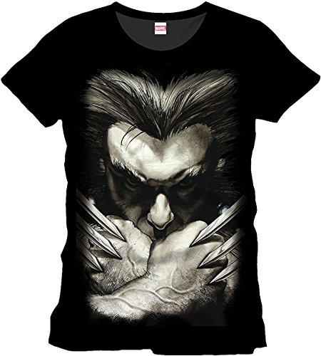 Lobezno - camiseta desafiante con las garras - cómic de Marvel - X-Men - algodón - negra - XXL
