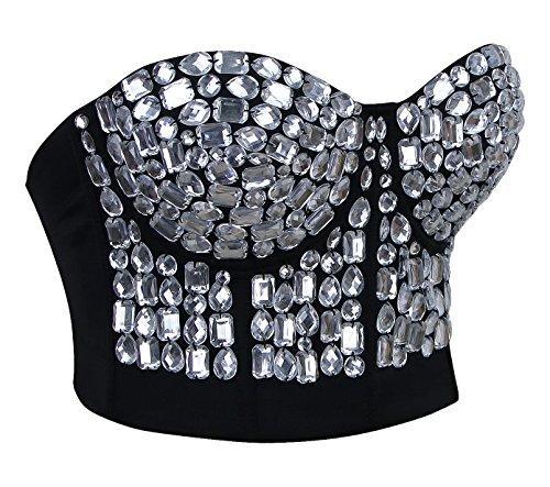 Charmian Women's Burlesque Fashion Beaded Sequins Push Up Crop Top Bustier Bra Clear-Argenté
