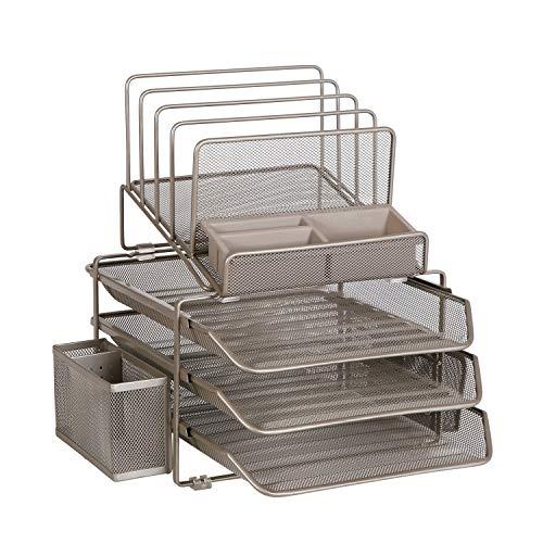 DESIGNA Desk Organizer mit 4 Feilenhaltern 3 Einschubfächer 2 Seitenfächer, Desktop-Speicher mit Stifthalter und rutschfester Unterlage, Champagner, MEHRWEG