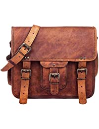 "Crafat 100% Pure Leather 11"" Bag, Messenger Bag, Leather Office School College Laptop Bag Shoulder Real Brown..."