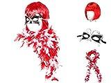 Déguisement de 3 pièces: Perruque, Boa Plume et Masque (KV-27) rouge blanc soirée à thème années 20 bal masqué femme fille idéal pour se déguiser et faire la surprise lors de vos soirées déguisées spéctacle theatre déguisement fête carnaval ambiance fille femme jeune